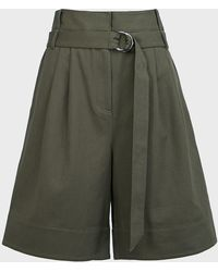 Tibi Jenson Stella Gabardine Shorts - Green