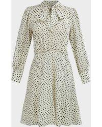 Rebecca Taylor Blurry Heart-print Silk-satin Dress - Multicolour