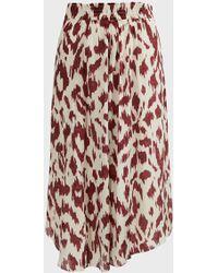 Étoile Isabel Marant Yeba Animal-print Silk Midi Skirt - Multicolor