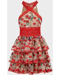 Bronx and Banco Ivana Floral Ruffled Mini Dress - Red
