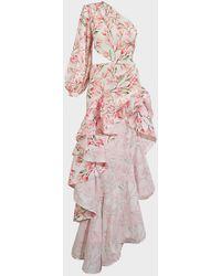 Bronx and Banco Layla Floral Satin Maxi Dress - Pink