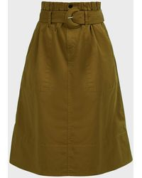 Proenza Schouler Belted Cotton Midi Skirt - Green
