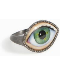 Lito - Green Enamel Eye Ring - Lyst