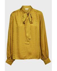 Anine Bing Delilah Silk-jacquard Top - Yellow