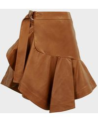 A.L.C. Amalie Ruffled Leather Skirt - Brown