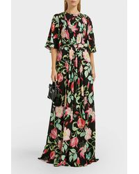 Andrew Gn Belted Floral Silk Maxi Dress - Green
