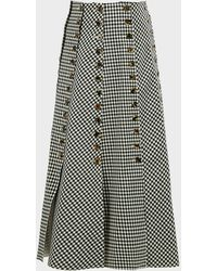 Awake Gingham-panelled Woven Maxi Skirt - Black