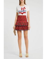 Étoile Isabel Marant Naomi Floral Print Mini Skirt - Red