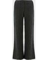 The Row Nana Striped Cashmere Pants - Black