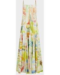 Rosie Assoulin Million Pleats Printed Dress - Yellow