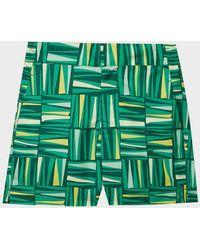Frescobol Carioca Classic Palm Print Swim Shorts - Green