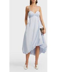 3.1 Phillip Lim Bubble Hem Cotton Midi Dress - Blue