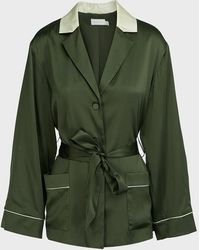Jonathan Simkhai Selina Silk Robe Jacket - Green