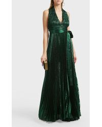 Elie Saab - Pleated Silk-blend Maxi Dress - Lyst