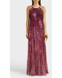 Jenny Packham Sequin Sleeveless Gown - Red