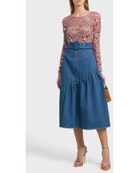Rachel Comey Splashed Crochet Wool Top - Blue