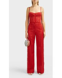 Jonathan Simkhai Side Snap Wool-blend Trousers - Red