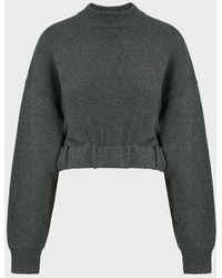 T By Alexander Wang Cropped Cotton-blend Jumper - Grey