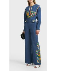 Paul & Joe Ibis Embroidered Cotton Trousers - Blue
