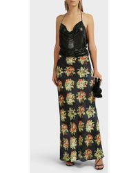 Paco Rabanne Floral-print Satin Skirt - Multicolour