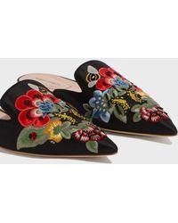 Alberta Ferretti - Mia Embroidered Mules, Size It37, Women, Black - Lyst