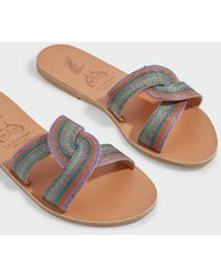 Ancient Greek Sandals Desmos Embroidered Leather Slides - Multicolour