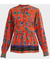 10 Crosby Derek Lam French Floral Print Peplum Blouse - Red