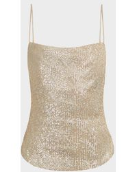 Jonathan Simkhai Sequinned Cowl-neck Camisole - Natural