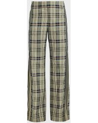 Monse Plaid Racing-striped Crepe Trousers - Green