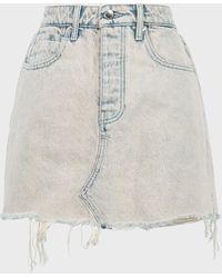 T By Alexander Wang Bite Distressed Denim Skirt - White