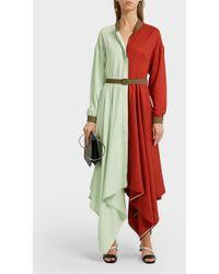 Anna October - Asymmetric Two-tone Satin Maxi Dress - Lyst