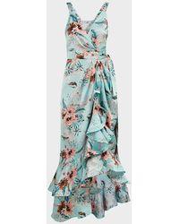 Bronx and Banco Georgia Floral Ruffle Satin Dress - Blue