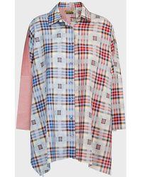 Marques'Almeida Patchwork Batwing Cotton Shirt - Multicolour