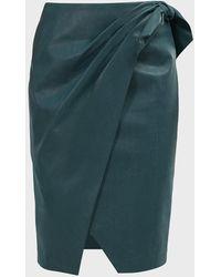 Rebecca Taylor Wrapover Vegan Leather Midi Skirt - Green