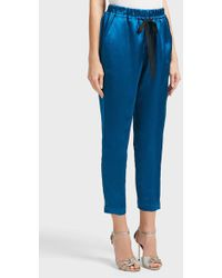 Forte Forte - Cropped Satin Trousers, Size 2, Women, Blue - Lyst