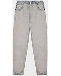 T By Alexander Wang Logo-stripe Denim Sweatpants - Gray