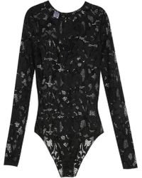 Oscar de la Renta Lace Bodysuit - Black