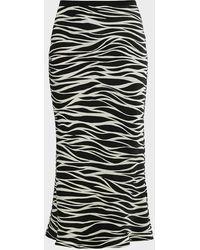 Anine Bing Bar Zebra-print Silk Midi Skirt - Black
