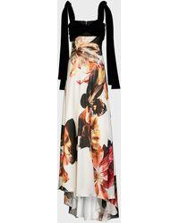 Costarellos Dahlia Empire Velvet-satin Gown - Multicolor