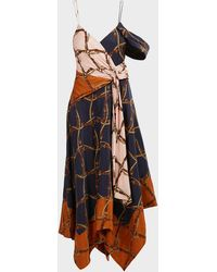 Jonathan Simkhai Saddle-print Asymmetric Scarf Midi Dress - Multicolour