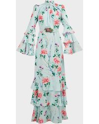 Andrew Gn Tiered Floral Silk Maxi Dress - Blue