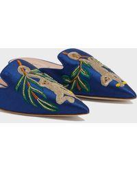 Alberta Ferretti - Mia Embroidered Mules, Size It36, Women, Blue - Lyst
