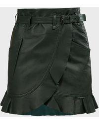 Étoile Isabel Marant Qing Ruffled Leather Mini Skirt - Green