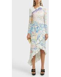 Mary Katrantzou Lenda Ruffle Midi Dress - Blue