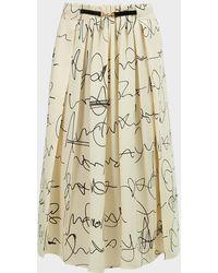 Victoria Beckham Scribble-print Front-drape Skirt - Natural