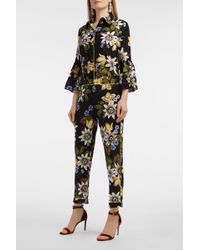 Erdem - Ginnie Cropped Floral-print Silk Crepe De Chine Trousers - Lyst