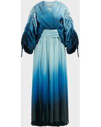 Jonathan Simkhai Ombre Satin And Chiffon Maxi Dress - Blue