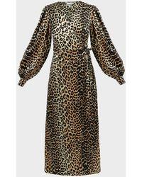 Ganni Animal-print Silk-satin Wrap Dress - Black