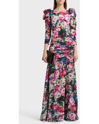 Ronald Van Der Kemp - Floral Print Silk-blend Gown - Lyst