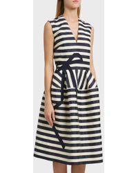Delpozo - Striped Linen And Cotton-blend Midi Dress, Fr38 - Lyst